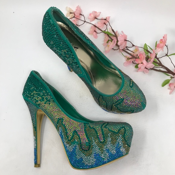 Alba Shoes - Alba Green Platform Stiletto Heels Club Size 11